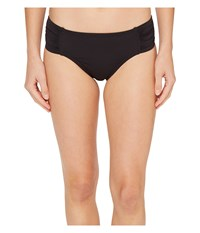 Tommy Bahama Pearl High Waist Side Shirred Bikini Bottom Black Women's Swimwear