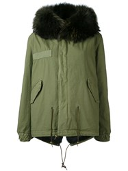 Mr And Mrs Italy Army Mini Parka Women Cotton Leather Rabbit Fur Racoon Fur Xxs Green