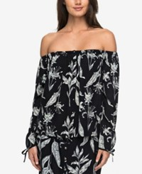 Roxy Juniors' Ms. Brightside Printed Off The Shoulder Top Anthracite