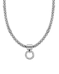 Lagos Enso Diamond Pendant Necklace On 4Mm Rope Chain In Sterling Silver 16 White Silver