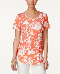 Jm Collection Printed T Shirt Only At Macy's Rose Blown Bloom