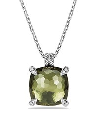 David Yurman Chatelaine Pendant With Green Orchid And Diamonds Green Silver