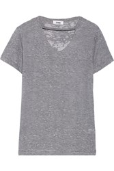 Lna Lani Cutout Slub Knitted T Shirt Gray