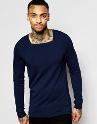 Asos Muscle Long Sleeve T Shirt With Square Neck In Navy Navy