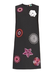 Msgm Spirograph Embroidery Crepe Shift Dress