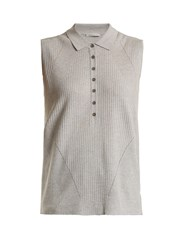 Falke Golf Ribbed Knit Sleeveless Top Light Grey