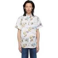 Naked And Famous Denim White Flower Painting Easy Shirt