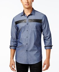 Inc International Concepts Men's Faux Leather Trim Shirt Only At Macy's Dark Navy