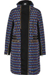 M Missoni Printed Shell And Wool Blend Down Coat Purple