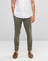 Asos Skinny Cropped Smart Trousers In Khaki Burnt Olive Green