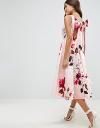 Asos Bow Back Midi Prom Dress In Floral Print Print Multi