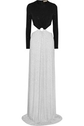 Michael Kors Crystal Embellished Cutout Stretch Crepe Gown Metallic