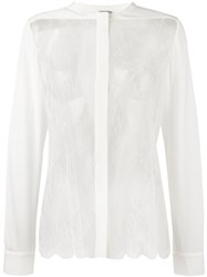 La Perla 'Leisuring' Sheer Lace Detail Shirt White