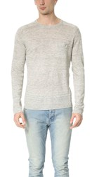 Todd Snyder Saddle Pocket Linen Crew Sweater Light Grey