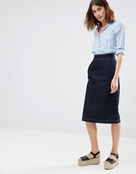 Warehouse Denim Midi Skirt Indigo Navy