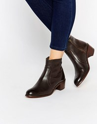 Hudson London H By Plath Zip Heeled Leather Ankle Boots Calf Brown
