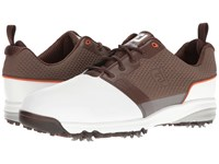 Footjoy Contour Fit Cleated Plain Toe White Brown Golf Shoes