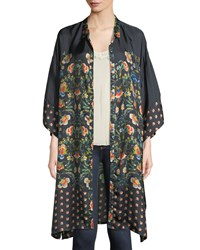 Johnny Was Delight Printed Long Button Front Silk Jacket Plus Size Multi Print B