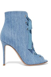 Gianvito Rossi Lace Up Denim Boots Light Denim