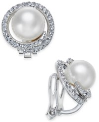 Danori Silver Tone Imitation Pearl Pave Clip On Stud Earrings Only At Macy's
