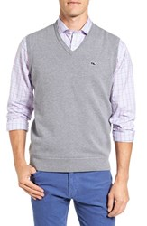Vineyard Vines Men's Vintage Wind Merino Wool And Cotton Sweater Vest Grey Heather
