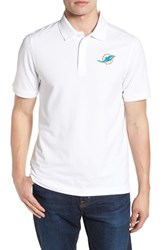 Cutter And Buck Big Tall Miami Dolphins Advantage Regular Fit Drytec Polo White
