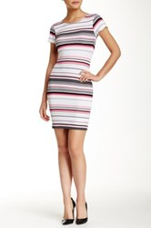 Necessary Objects Cap Sleeve Printed Bodycon Dress Multi