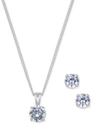 Charter Club Silver Tone Crystal Pendant Necklace And Matching Stud Earrings Set Only At Macy's