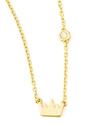 Crown Bezel Diamond Pendant Necklace Shy By Sydney Evan Gold