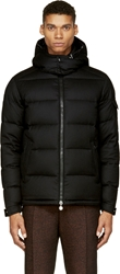 Moncler Black Wool Down Feather Hooded Jacket