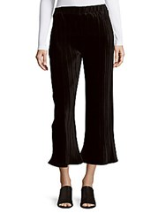 Saks Fifth Avenue Red Crushed Velvet Cropped Pants Black