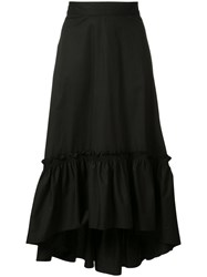 Trina Turk Asymmetric Pleated Skirt Women Cotton Spandex Elastane 4 Black