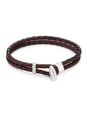Saks Fifth Avenue Collection Toggle Braided Leather Bracelet Brown