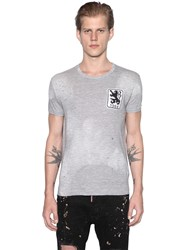 Dsquared Lion Patch Distressed Cotton T Shirt