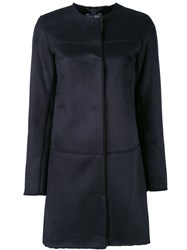Armani Jeans Single Breased Coat Women Polyester 44 Blue