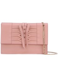 Casadei Lace Up Detail Shoulder Bag Women Calf Leather Nappa Leather One Size Pink Purple