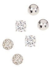 Sterling Silver Austrian Crystal And Cz Stud Earrings Set Of 3 Pairs White