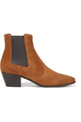 Saint Laurent Rock Suede Chelsea Boots Tan