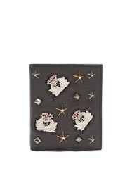 Christian Louboutin Paros Embellished Bi Fold Leather Wallet Black Multi