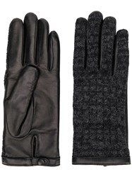 Agnelle Leather Knitted Gloves Black
