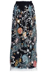 Valentino Embroidered Net And Tulle Maxi Skirt Black