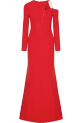 Antonio Berardi Cutout Embellished Stretch Cady Gown Red