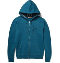 Burberry Fleece Back Cotton Blend Jersey Zip Up Hoodie Teal