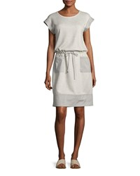 Lafayette 148 New York Scoop Neck Drawstring Waist Knit Dress Pebble Melange