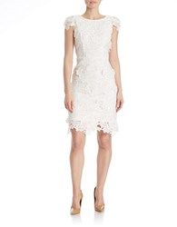 424 Fifth Floral Lace Sheath Dress Ivory