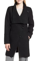 Halogen Boiled Wool Blend Asymmetrical Coat Black