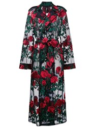 Adam Selman Oversized Rose Embroidered Tulle Trench Coat Nylon Polyester