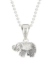 Lagos Rare Wonders Sterling Silver Diamond Small Elephant Pendant Necklace 0.06 Ctw Metallic