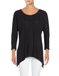 Lord And Taylor Asymmetrical Knit Top Black