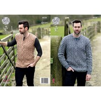 King Cole Fashion Aran Combo Men's Jumper And Slipover Knitting Pattern 4628
